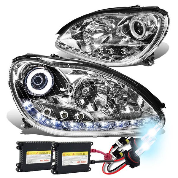 HID Combo 00-06 Mercedes-Benz S-Class W220 LED DRL & Halo Projector Headlight - Chrome