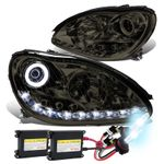 HID Xenon + 00-06 Mercedes-Benz S-Class W220 LED DRL & Halo Projector Headlight  - Smoked