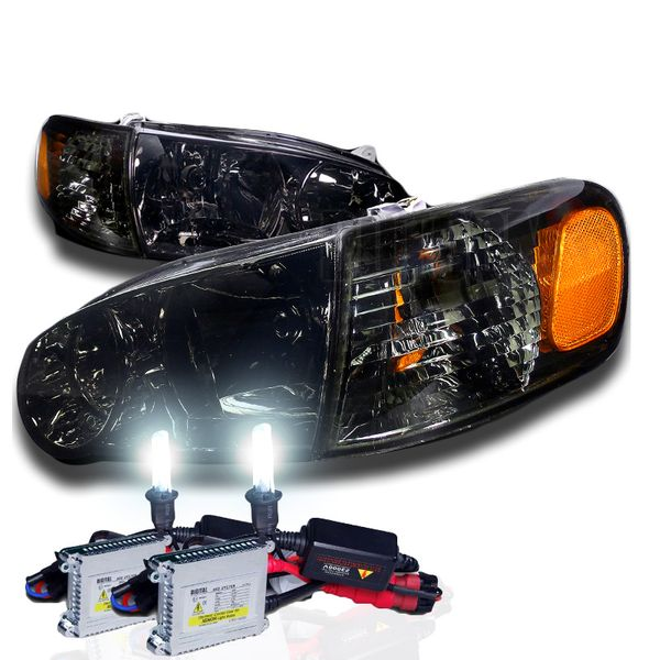 HID Xenon + 01-02 Toyota Corolla Crystal Replacement Headlights With Corner Lens - Smoked