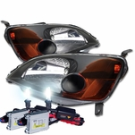 HID Xenon + 01-03 Honda Civic 2D / 4D Crystal Replacement Headlights - Black