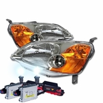 HID Xenon + 01-03 Honda Civic 2D / 4D Crystal Replacement Headlights - Chrome