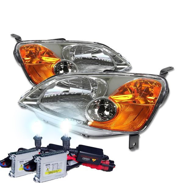 HID Combo 01-03 Honda Civic 2D / 4D Crystal Replacement Headlights - Chrome