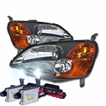 HID Xenon + 01-03 Honda Civic 2D / 4D Crystal Replacement Headlights - Smoked