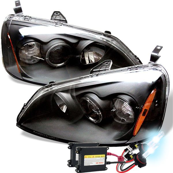 HID Xenon + 01-03 Honda Civic Angel Eye Halo Projector Headlights - Black