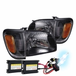 HID Xenon + 01-04 Toyota Tacoma 4pcs OE-Style Replacement Headlights - Black