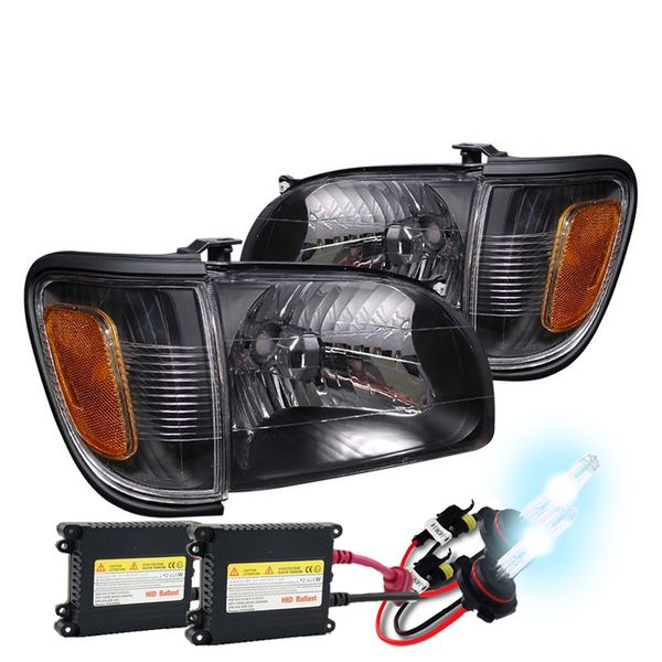 HID Combo 01-04 Toyota Tacoma 4pcs OE-Style Replacement Headlights - Black