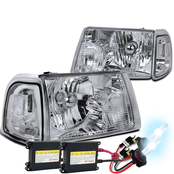 HID Combo 01-11 Ford Ranger Euro Style Crystal Headlights - Chrome