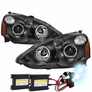 HID Xenon + 02-04 Acura RSX LED DRL & Halo Projector Headlights - Black
