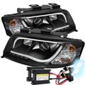 HID Combo 02-04 Audi A6 S6 RS6 LED DRL Light-Tube Projector Headlights - Black