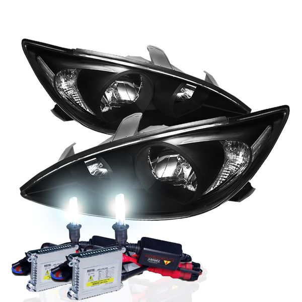 HID Combo 02-04 Toyota Camry (Clear Reflector) Replacement Crystal Headlights - Black