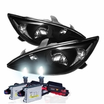 HID Xenon + 02-04 Toyota Camry (Clear Reflector) Replacement Crystal Headlights - Black