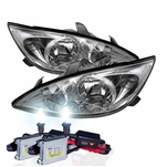 HID Xenon + 02-04 Toyota Camry (Clear Reflector) Replacement Crystal Headlights - Chrome