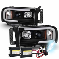 HID Xenon + 02-05 Dodge Ram 1500 / 03-05 2500 3500 LED Tube Projector Headlights - Black