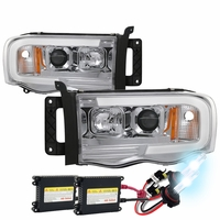 HID Xenon + 02-05 Dodge Ram 1500 / 03-05 2500 3500 LED Tube Projector Headlights - Chrome