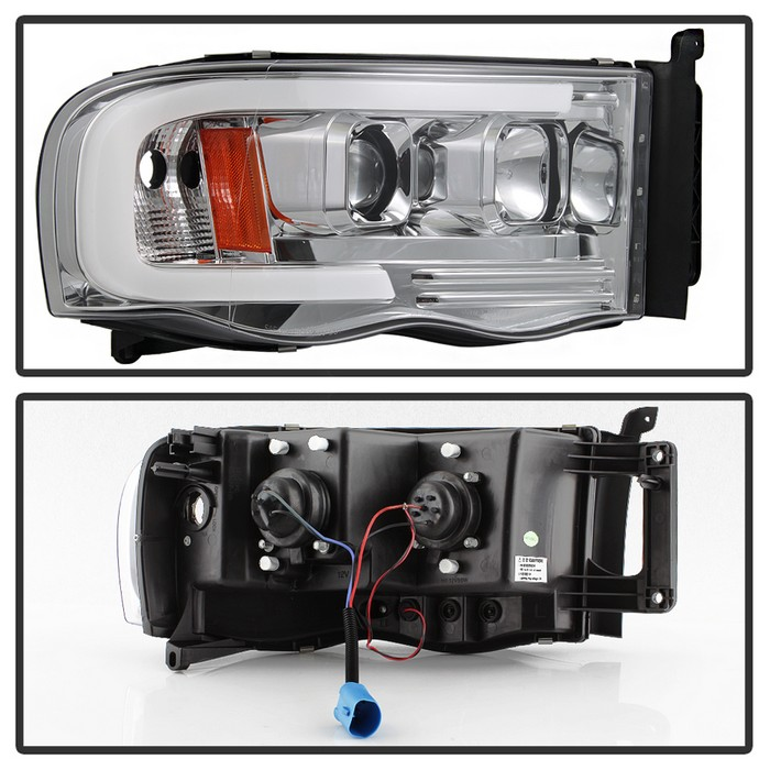 Hid Xenon 02 05 Dodge Ram 1500 03 2500 3500 Led Projector Headlights Chrome