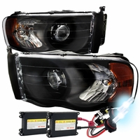 HID Xenon + 02-05 Dodge RAM 1500 2500 3500 Projector Headlights - Black