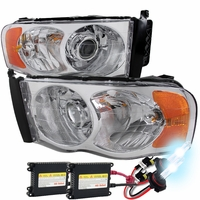 HID Xenon + 02-05 Dodge RAM 1500 2500 3500 Projector Headlights - Chrome