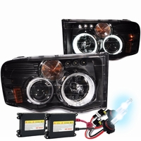 HID Xenon + 02-05 Dodge Ram 1500 2500 Angel Eye Halo Projector Headlights - Black
