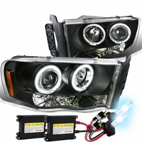 HID Xenon + 02-05 Dodge Ram Dual Halo & LED Strip Projector Headlights - Black