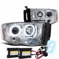 HID Xenon + 02-05 Dodge Ram Dual Halo & LED Strip Projector Headlights - Chrome