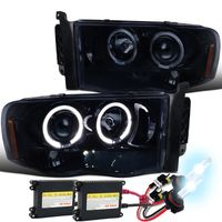 HID Xenon + 02-05 Dodge Ram Dual Halo & LED Strip Projector Headlights - Gloss Black