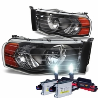 HID Xenon + 2002-2005 Dodge RAM 1500 2500 3500 Crystal Headlights- Black