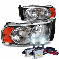 HID Xenon + 2002-2005 Dodge RAM 1500 2500 3500 Crystal Headlights- Chrome