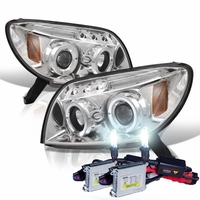 HID Xenon + 03-05 Toyota 4Runner Angel Eye Halo LED Projector Headlights - Chrome
