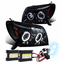 HID Xenon + 03-05 Toyota 4Runner Halo LED Glossy Black Projector Headlights