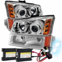 HID Xenon + 03-06 Chevy Silverado / Avalanche Angel Eye Halo & LED Projector Headlights + Bumper Lens - Chrome