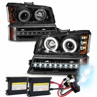 HID Xenon + 03-06 Chevy Silverado / Avalanche Angel Eye Halo Projector Headlights + LED Bumper Lights - Black