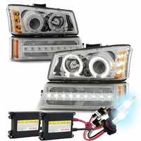 HID Xenon + 03-06 Chevy Silverado / Avalanche Angel Eye Halo Projector Headlights + LED Bumper Lights - Chrome