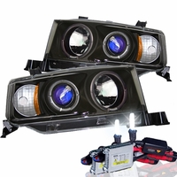HID Xenon + 03-06 Scion XB Angel Eye Halo Projector Headlights - Black