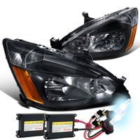 HID Xenon + 2003-2007 Honda Accord 2D / 4D Euro Crystal Headlights - Black