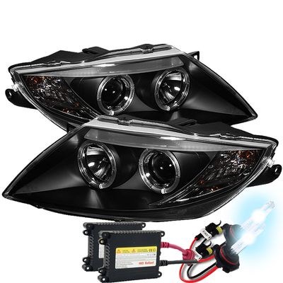 HID Xenon + 03-08 BMW Z4 E85 (Factory Halogen Model) Angel Eye Halo Projector Headlights - Black