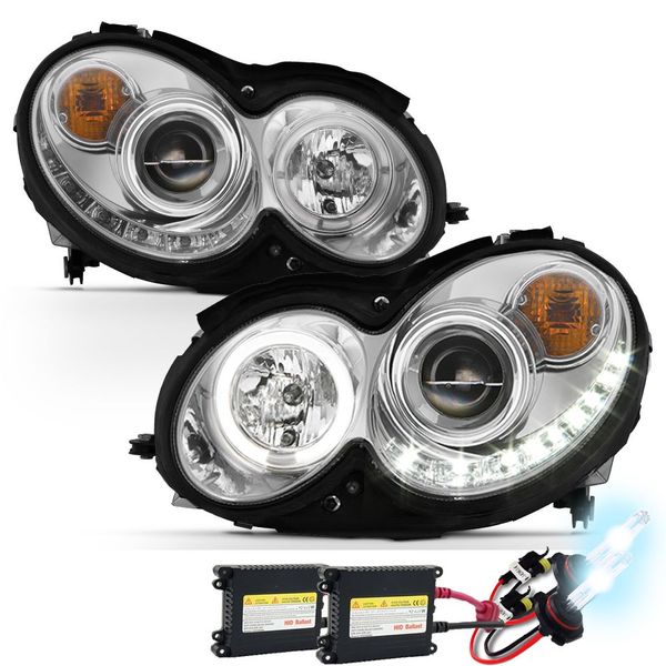 HID Xenon + 03-09 Mercedes Benz CLK W209 Angel Eye Halo & LED Projector Headlights - Chrome
