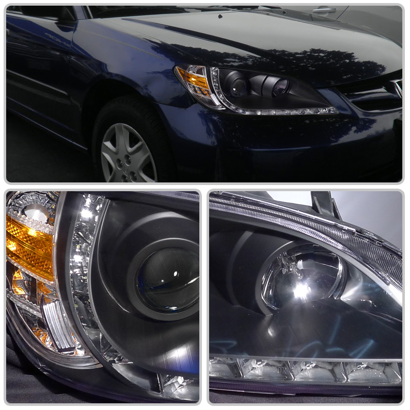 Hid Xenon 04 05 Honda Civic R8 Style Led Drl Projector Headlights Chrome
