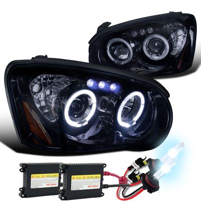 HID Xenon + 04-05 Subaru Impreza WRX / STI Dual Halo & LED Projector Headlights - Gloss Black