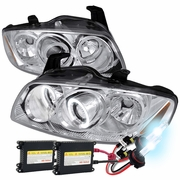 HID Xenon + 04-06 Nissan Sentra Angel Eye Halo Projector Headlights - Chrome