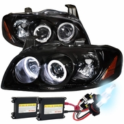 HID Xenon + 04-06 Nissan Sentra Angel Eye Halo Projector Headlights - Gloss Black