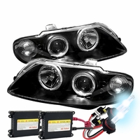 HID Xenon + 04-06 Pontiac GTO Angel Eye Halo / LED DRL Projector Headlights - Black