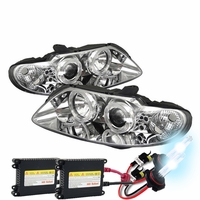 HID Xenon + 04-06 Pontiac GTO Angel Eye Halo / LED DRL Projector Headlights - Chrome