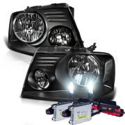 HID Xenon + 2004-2008 Ford F150 / Lincoln Mark LT Euro Style Crystal Headlights - Black