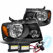 HID Xenon + 04-08 Ford F150 / Lincoln Mark LT Replace Crystal Headlights - Black