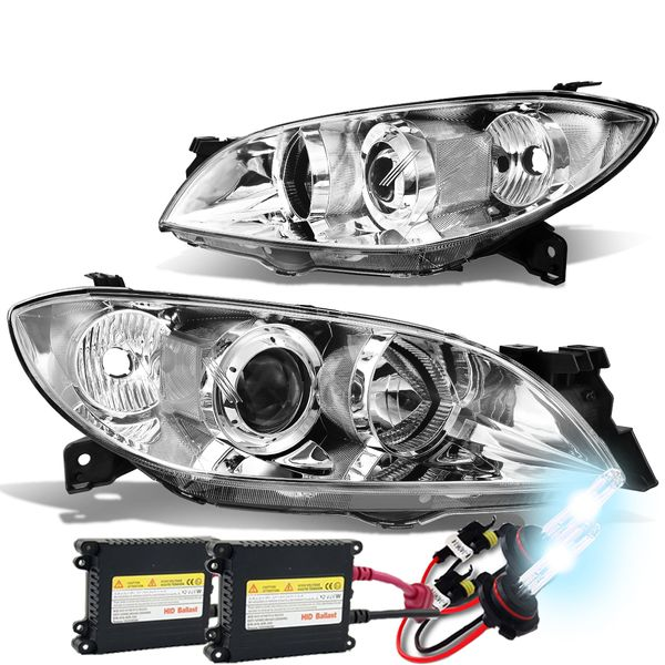 HID Xenon + 04-09 Mazda 3 4-Door Sedan Projector Headlights - Chrome / Clear