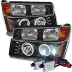 HID Xenon + 04-12 Chevy Colorado / GMC Canyon Angel Eye Halo & LED Projector Headlights + Bumper Lights - Black