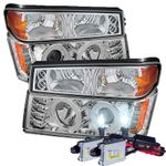 HID Xenon + 04-12 Chevy Colorado / GMC Canyon Angel Eye Halo & LED Projector Headlights + Bumper Lights - Chrome