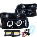 HID Xenon + 04-12 Chevy Colorado / GMC Canyon Halo Projector Headlights + Bumper Signal - Glossy Black