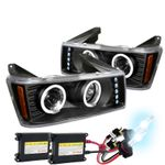 HID Xenon + 04-12 Chevy Colorado LED DRL Halo Projector Headlights - Black