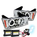 HID Xenon + 04-12 Chevy Colorado LED DRL Halo Projector Headlights - Chrome